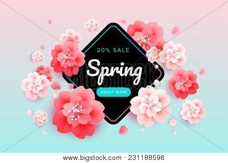 Spring Sale Background Banner With Beautiful Flowers - Pink And Green Gradient Background - Colorful