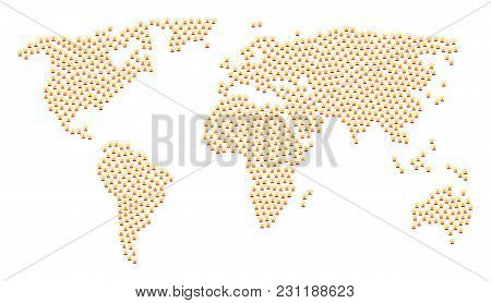 World Map Mosaic Created Of Alarm Pictograms. Vector Alarm Items Are Organized Into Conceptual Globa