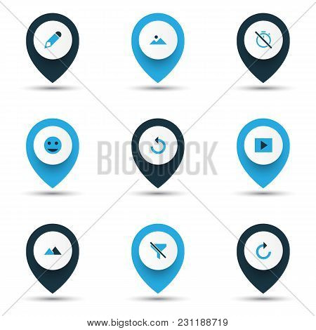 Image Icons Colored Set With Chronometer, Tag Face, Refresh Right And Other No Filter Elements. Isol