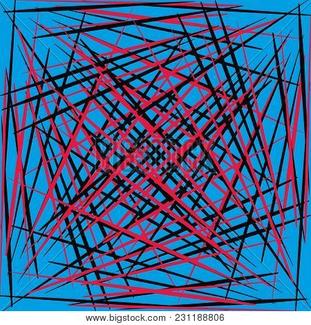 Geometric Smooth Red And Black Lines On A Blue Background. Abstract Pattern For Registration Of Bann