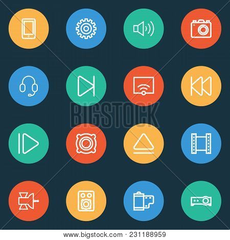 Music Icons Line Style Set With Previous, End, Earphone And Other Photo Elements. Isolated Vector Il