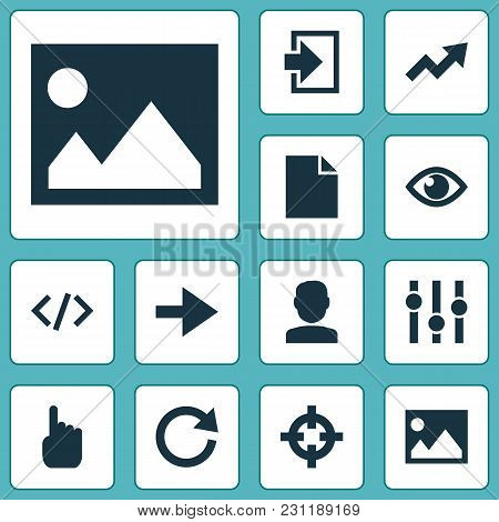 User Icons Set With Hand, Code, Forward Ahead Elements. Isolated Vector Illustration User Icons.