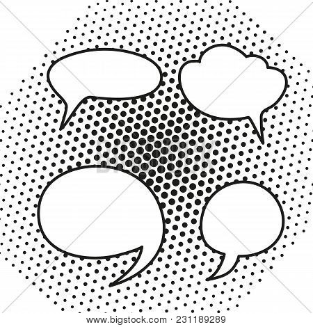 Hand Drawn Blank White Speech Bubbles. Vector Illustration
