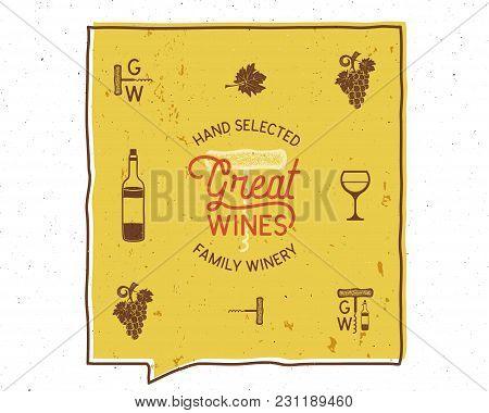 Wine, Winery Logo And Icons, Elements. Drink, Alcoholic Beverage Symbol, Monogram. Wine Bottle, Glas