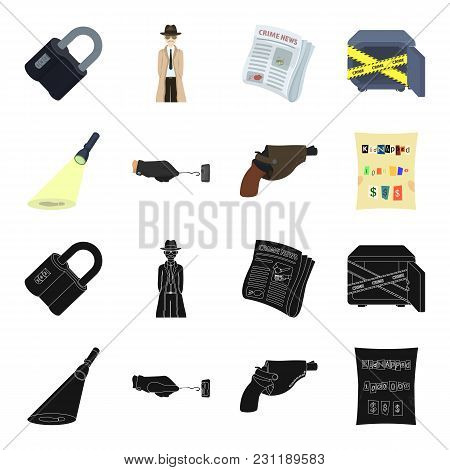 The Detective S Flashlight Illuminates The Footprint, The Criminal S Hand With The Master Key, A Pis
