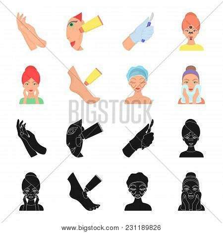 Face Care, Plastic Surgery, Face Wiping, Moisturizing The Feet. Skin Care Set Collection Icons In Bl