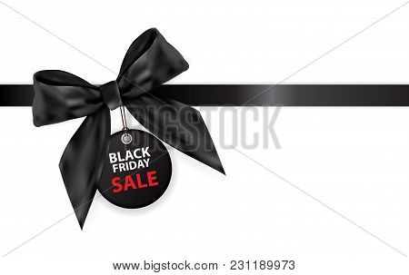 Black Friday Sale Labei With Bow And Ribbon Isolated On White Background Vector Illustration Eps10