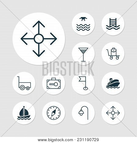 Tourism Icons Set With Swimming Pool, Cocktail, Street Light And Other Sail Ship Elements. Isolated