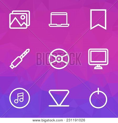 Media Icons Line Style Set With Quarter, Bookmark, Jack And Other Screen Elements. Isolated  Illustr
