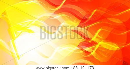 Theme Of Fire For The Banner. Bright Red And Orange Glare On A Gentle Background For A Fabric Or Pos