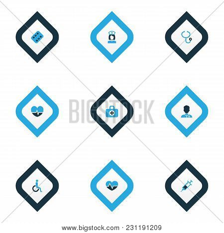 Medicine Icons Colored Set With Heartbeat, Medicament, Syringe And Other Heartbeat  Elements. Isolat