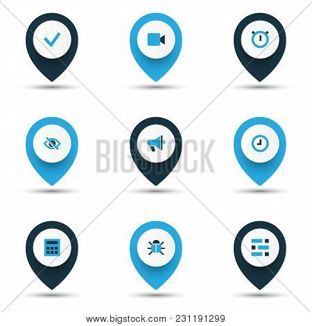 Interface Icons Colored Set With Stopwatch, Video, Announcement And Other Watch Elements. Isolated