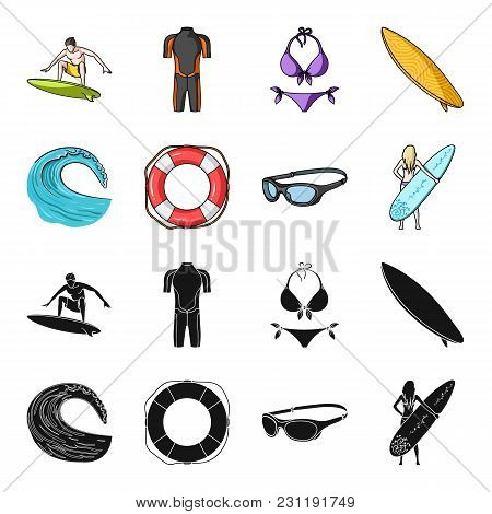 Oncoming Wave, Life Ring, Goggles, Girl Surfing. Surfing Set Collection Icons In Black, Cartoon Styl