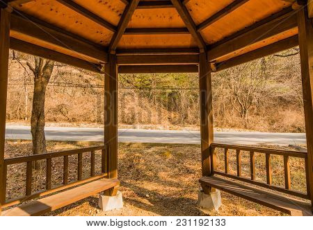 Closeup Perspective Of Inside Of Wooden Gazebo With Roof Rafters And Bench Seats With Country Road A