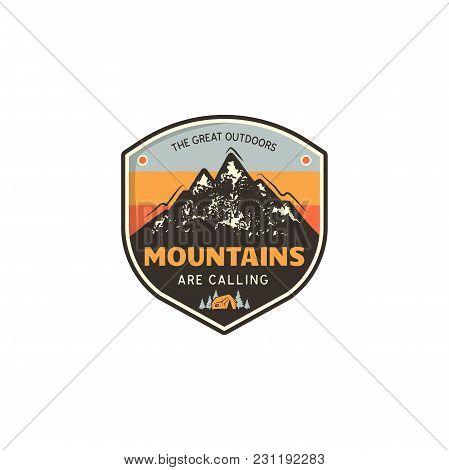 Travel Logo Design Concept. Retro Colors Style. Mountain Adventure Badge, Travel Logo Template. Camp