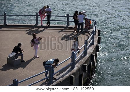 Istanbul Turkey 05 July 2017 People Walk On The Embankment In Good Weather