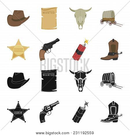 Star Sheriff, Colt, Dynamite, Cowboy Boot. Wild West Set Collection Icons In Black, Cartoon Style Ve