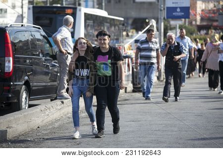 Istanbul Turkey 05 July 2017 People At Istiklal. Happy Couple Walk Down The Street