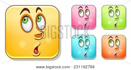 Surpised Male Emoji. Emoticons Collection. Colorful Smiley Set. Avatar Symbol, Internet Message Or C