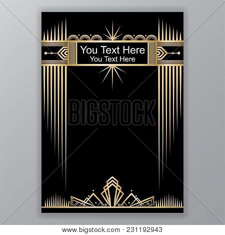 Art Deco Template Golden-black, A4 Page, Menu, Card, Invitation, Sun And City Lights In Artdeco/art