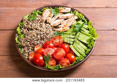 Salad From Quinoa With Avocado , Chiken And Tomatoes