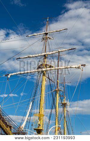Big White Ship In Montenegro In Tivat Near The Pier
