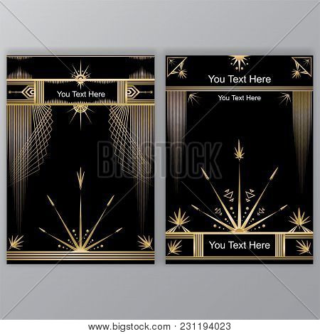 Art Deco Template Golden-black, Two A4 Pages, Menu, Card, Invitation To Party, Flower In  Artdeco/ar