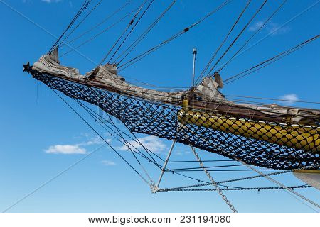 Nose Of A Large White Ship With Mesh