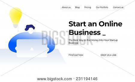 Vector Business Illustration. Young Man Is Working Behind Laptop With Lamp Idea Symbol Background. M
