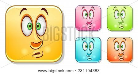 Scared Fear Emoji. Emoticons Collection. Colorful Smiley Set. Avatar Symbol, Internet Message Or Cha