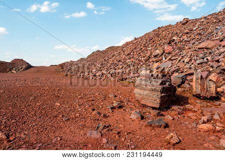 Deserted red soil on the territory of open-cast mine in Kryvyi Rih, Ukraine.