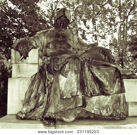 Budapest - July 16: A Sculpture Of The Anonymous Author Of Gesta Hungarorum Who Was Later Named Gall