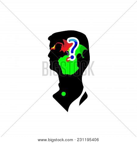 Two Boxers Fighting In Man Head Silhouette. Vector Illustration Isolated On White Background