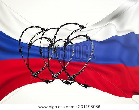 Flag Of The Russian Federation In Barbed Wire On A White Background, Sanctions And Aggression Of Rus