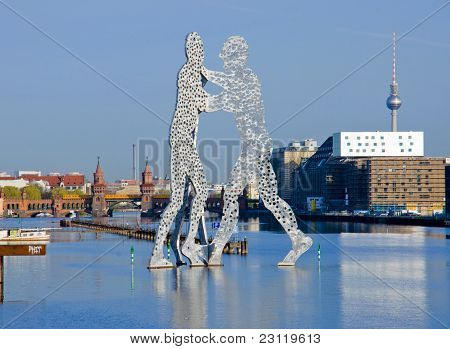 Molecule men and river Spree, Berlin. Picture was taken from public place. poster