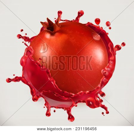 Pomegranate Juice. Fresh Fruit, 3d Vector Icon