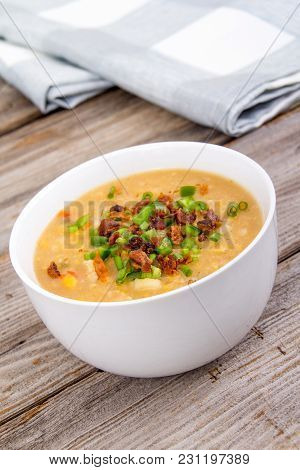 Delicious Home Made Corn Chowder Cream Soup Bowl Closeup On Tablecloth