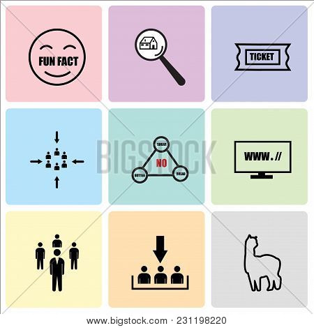 Set Of 9 Simple Editable Icons Such As Alpaca, Customer Acquisition, Staff, Website, Low Carb, Custo
