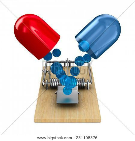 medicaments in mousetrap. Isolated 3D illustration
