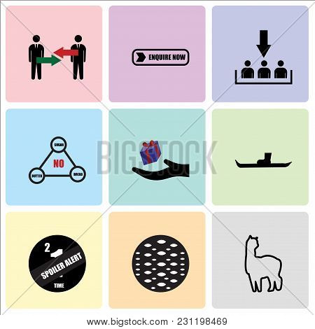 Set Of 9 Simple Editable Icons Such As Alpaca, Anti Slip, Spoiler Alert, Snowshoe, Perks, Low Carb,