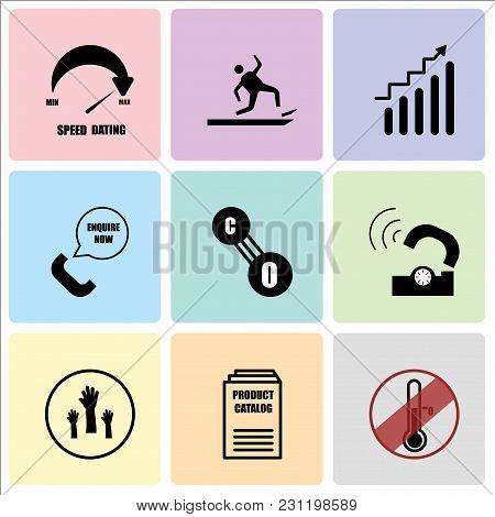 Set Of 9 simple editable icons such as antifreeze, product catalogue, get involved, telco, carbon monoxide, enquire now, continuous improvement, anti slip, speed dating, can be used for mobile, web UI poster