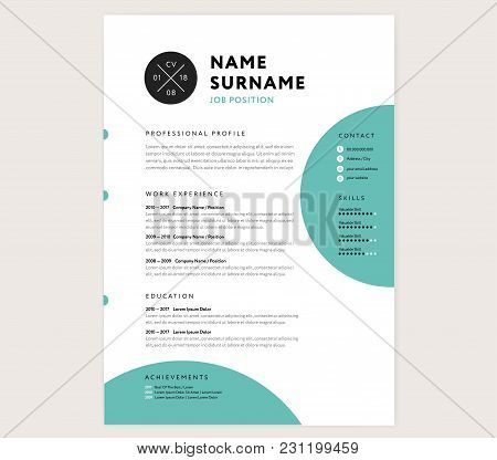 Cv Resume Curriculum Vitae Template Infographic And Icons - White And Green Color Vector