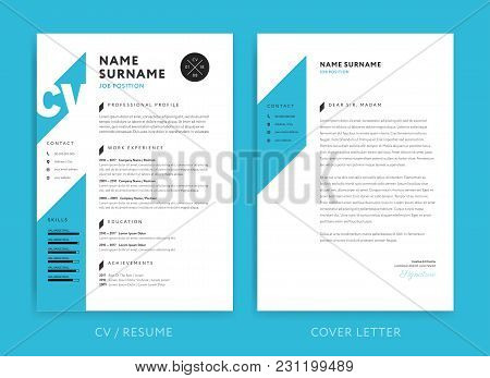 Creative Cv / Resume Template Blue Background Color Minimalist Vector Cv