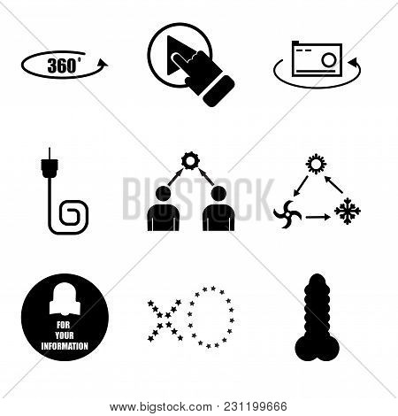 Set Of 9 Simple Editable Icons Such As Dildo, Xo, Fyi, Hvac, Conflict Of Interest, Coax, 360 Photo,