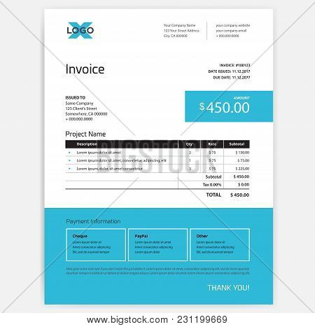 Invoice Form Design Template - Blue Color - Vector Mockup