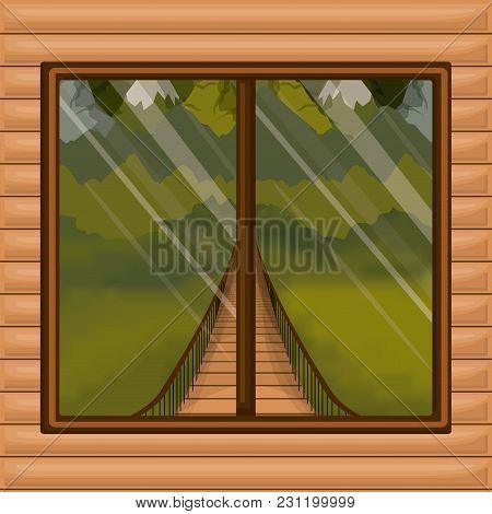 Background Interior Wooden Cabin With Suspension Bridge And Forest Scenary Behind Window Vector Illu