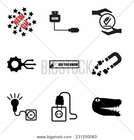 Set Of 9 Simple Editable Icons Such As Gator, Junction Box, Junction Box, Customer Acquisition, Did