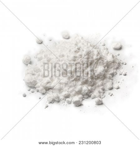 Heap of white Monosodium glutamate  isolated on white background
