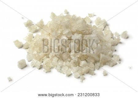 Heap of coarse sea salt isolated on white background