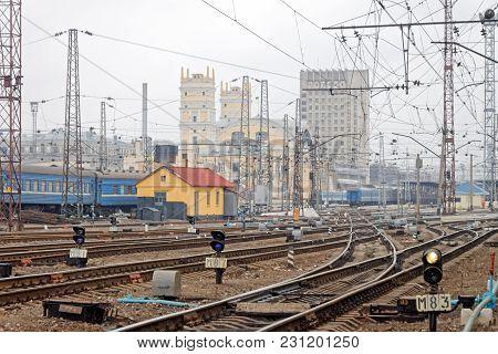 Kharkiv, Ukraine - March 25, 2012: Confusing Railway Tracks At The Kharkiv Passenger Railway Station